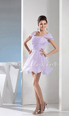 A-line Square Short/Mini Short Sleeve Chiffon Bridesmaid Dress