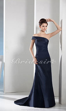 A-line One Shoulder Floor-length Sweep/Brush Train Sleeveless Satin Dress