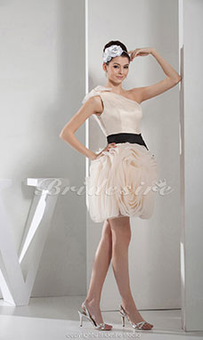 A-line One Shoulder Short/Mini Sleeveless Satin Dress