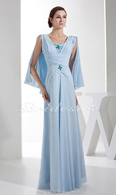 Sheath/Column V-neck Floor-length Sleeveless Chiffon Mother of the Bride Dress
