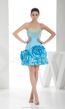 A-line Strapless Short/Mini Sleeveless Satin Dress