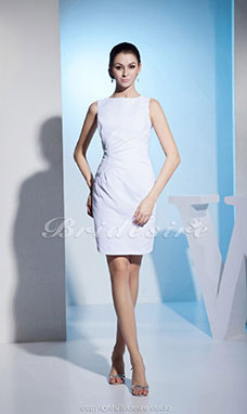 Sheath/Column Bateau Knee-length Sleeveless Satin Bridesmaid Dress