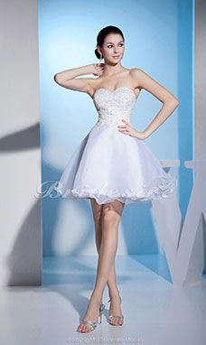 Princess Sweetheart Knee-length Sleeveless Organza Dress