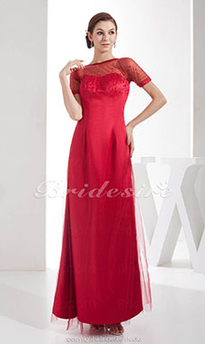 Sheath/Column Bateau Floor-length Short Sleeve Satin Chiffon Dress