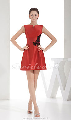 A-line Bateau Short/Mini Sleeveless Satin Dress
