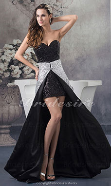 A-line Sweetheart Asymmetrical Sleeveless Sequined Dress