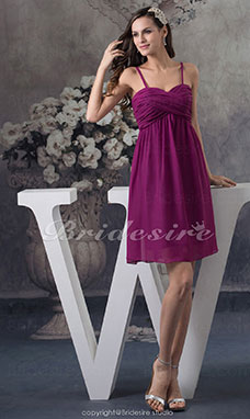 A-line Spaghetti Straps Knee-length Sleeveless Chiffon Dress