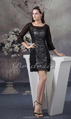 Sheath/Column Square Short/Mini 3/4 Length Sleeve Satin Lace Dress