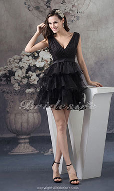 A-line V-neck Short/Mini Sleeveless Organza Bridesmaid Dress