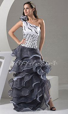 Trumpet/Mermaid One Shoulder Floor-length Sleeveless Satin Organza Dress