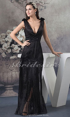 Sheath/Column V-neck Floor-length Sleeveless Satin Dress