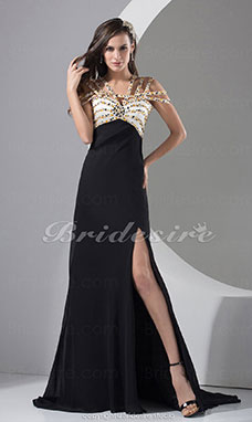 A-line Spaghetti Straps Floor-length Sweep Train Sleeveless Chiffon Dress