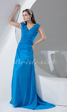 Sheath/Column V-neck Floor-length Sweep Train Sleeveless Chiffon Dress