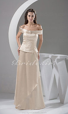 A-line Off-the-shoulder Floor-length Sleeveless Satin Dress