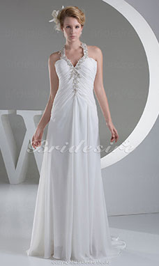 Sheath/Column Halter Floor-length Sleeveless Chiffon Wedding Dress
