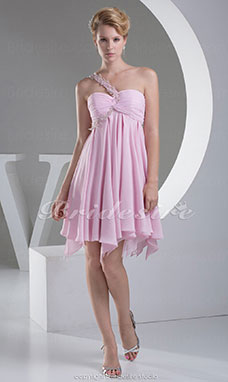 A-line One Shoulder Knee-length Sleeveless Chiffon Bridesmaid Dress