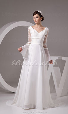 A-line V-neck Floor-length Sweep Train Long Sleeve Chiffon Satin Wedding Dress