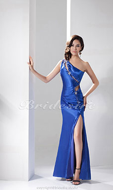 Trumpet/Mermaid One Shoulder Floor-length Sleeveless Satin Dress