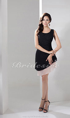 A-line Scoop Knee-length Sleeveless Chiffon Dress