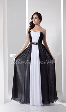 Sheath/Column Strapless Floor-length Sleeveless Chiffon Dress