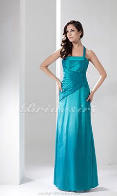 Sheath/Column Halter Floor-length Sleeveless Satin Dress