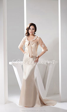 Trumpet/Mermaid Scoop Floor-length Sweep Train Half Sleeve Satin Dress
