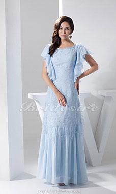 A-line Scoop Floor-length Short Sleeve Chiffon Mother of the Bride Dress
