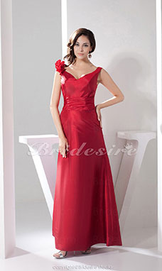 A-line V-neck Ankle-length Sleeveless Satin Bridesmaid Dress