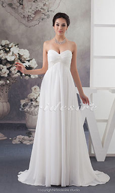 Sheath/Column Sweetheart Sweep/Brush Train Sleeveless Chiffon Wedding Dress