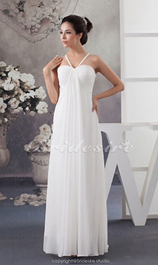 Sheath/Column Spaghetti Straps Floor-length Sleeveless Chiffon Wedding Dress