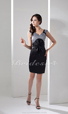 Sheath/Column V-neck Short/Mini Sleeveless Taffeta Dress
