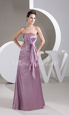 A-line Strapless Sweep/Brush Train Sleeveless Stretch Satin Dress