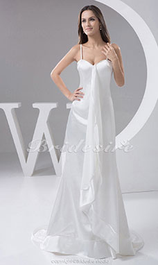Trumpet/Mermaid Sweetheart Spaghetti Straps Court Train Sleeveless Stretch Satin Wedding Dress