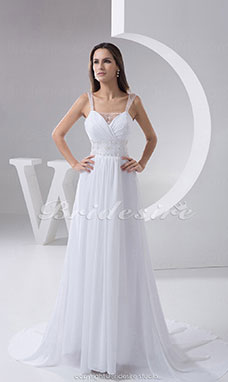 A-line Straps Chapel Train Sleeveless Chiffon Tulle Wedding Dress