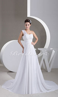 A-line One Shoulder Court Train Sleeveless Chiffon Wedding Dress