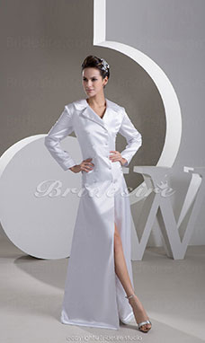 A-line V-neck Floor-length Long Sleeve Stretch Satin Dress