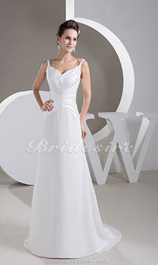 A-line Spaghetti Straps Sweep/Brush Train Sleeveless Stretch Satin Chiffon Wedding Dress