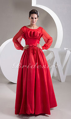 A-line Scoop Floor-length Long Sleeve Chiffon Taffeta Dress