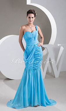 Trumpet/Mermaid One Shoulder Sweep/Brush Train Sleeveless Chiffon Dress