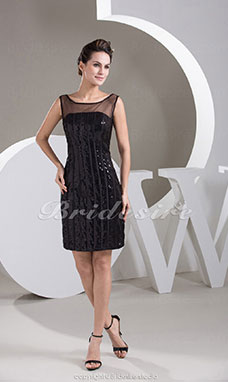 Sheath/Column Scoop Short/Mini Sleeveless Tulle Satin Sequined Dress