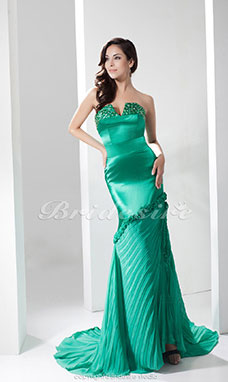 Trumpet/Mermaid V-neck Court Train Sleeveless Chiffon Stretch Satin Dress