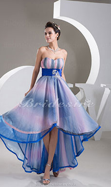 A-line Sweetheart Asymmetrical Sleeveless Stretch Satin Chiffon Dress