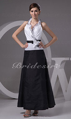 A-line Halter Ankle-length Sleeveless Taffeta Dress
