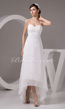 A-line Sweetheart Spaghetti Straps Asymmetrical Sleeveless Chiffon Wedding Dress