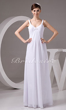 Sheath/Column Scoop Floor-length Sleeveless Chiffon Wedding Dress