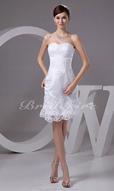 Sheath/Column Strapless Short/Mini Sleeveless Tulle Satin Wedding Dress