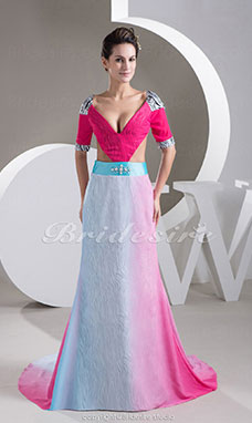 A-line V-neck Court Train Half Sleeve Chiffon Stretch Satin Dress