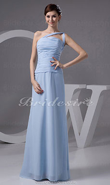 A-line Straps Floor-length Sleeveless Chiffon Bridesmaid Dress