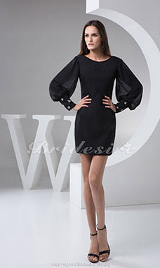 Sheath/Column Scoop Short/Mini Long Sleeve Chiffon Mother of the Bride Dress