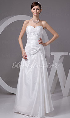 Sheath/Column Sweetheart Floor-length Sleeveless Taffeta Wedding Dress